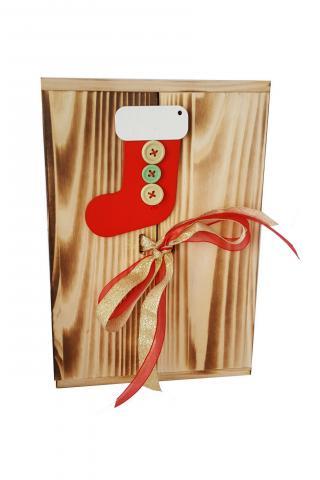 Plosca cutie de lemn 500 ml decorat cu Cizmulita lui Mos Craciun