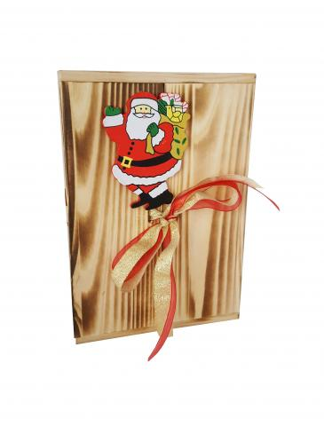 Plosca cutie de lemn 500 ml decorat cu Mos Craciun