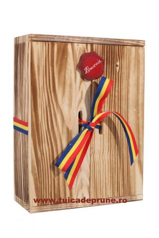 Plosca cutie lemn 500 ml